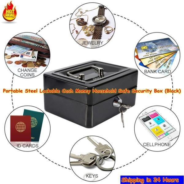 1Pc Mini Portable Steel Petty Lockable Cash Money Coin Safe Security Box Household (Black) - intl