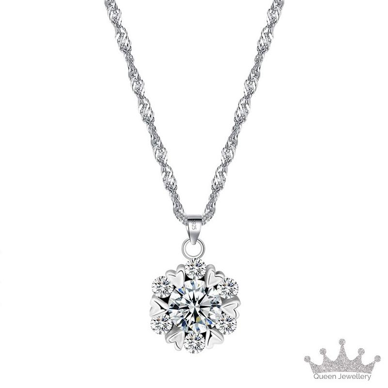 f73f522da Queen Jewellery - Pendant + Necklace - 925 Sterling Silver with Cubic  Zirconia - Exquisite jewellery