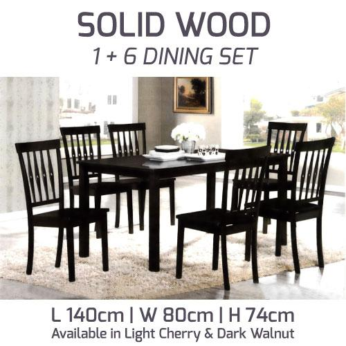 A-Star New Solid Wood / Wooden Dining Set 1+ 6