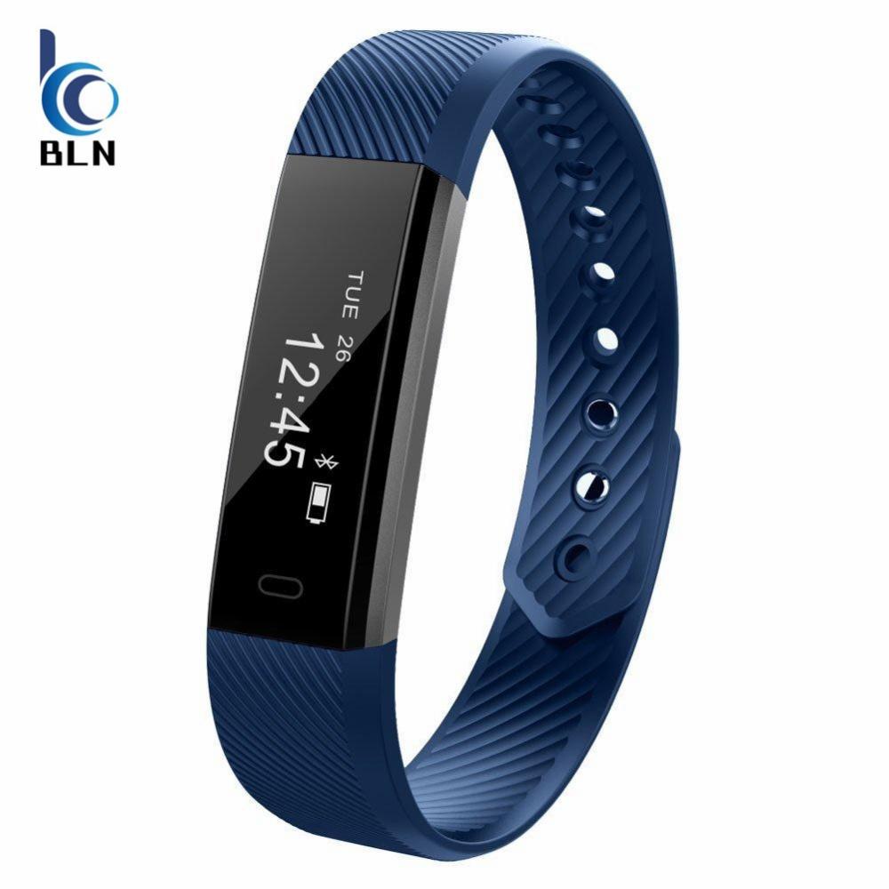Sale 【Bln Tech】Original Id115 Smart Bracelet Fitness Tracker Watch Alarm Clock Step Counter Smart Wristband Band Sport Sleep Monitor Smartband Blue Oem