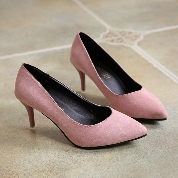 Korean Style 2017 New Style Shoes Female Hipster High Heel Shoes Autumn  Nude Semi-high d97285bcb892