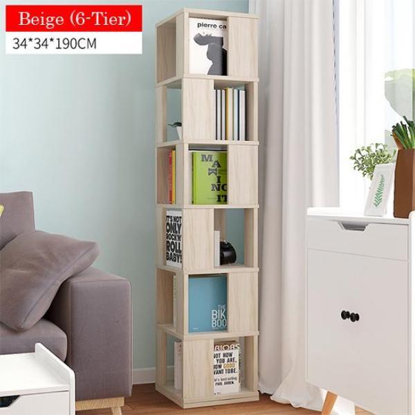 Beige Rotating Wooden Storage Bookshelf-6 Tier