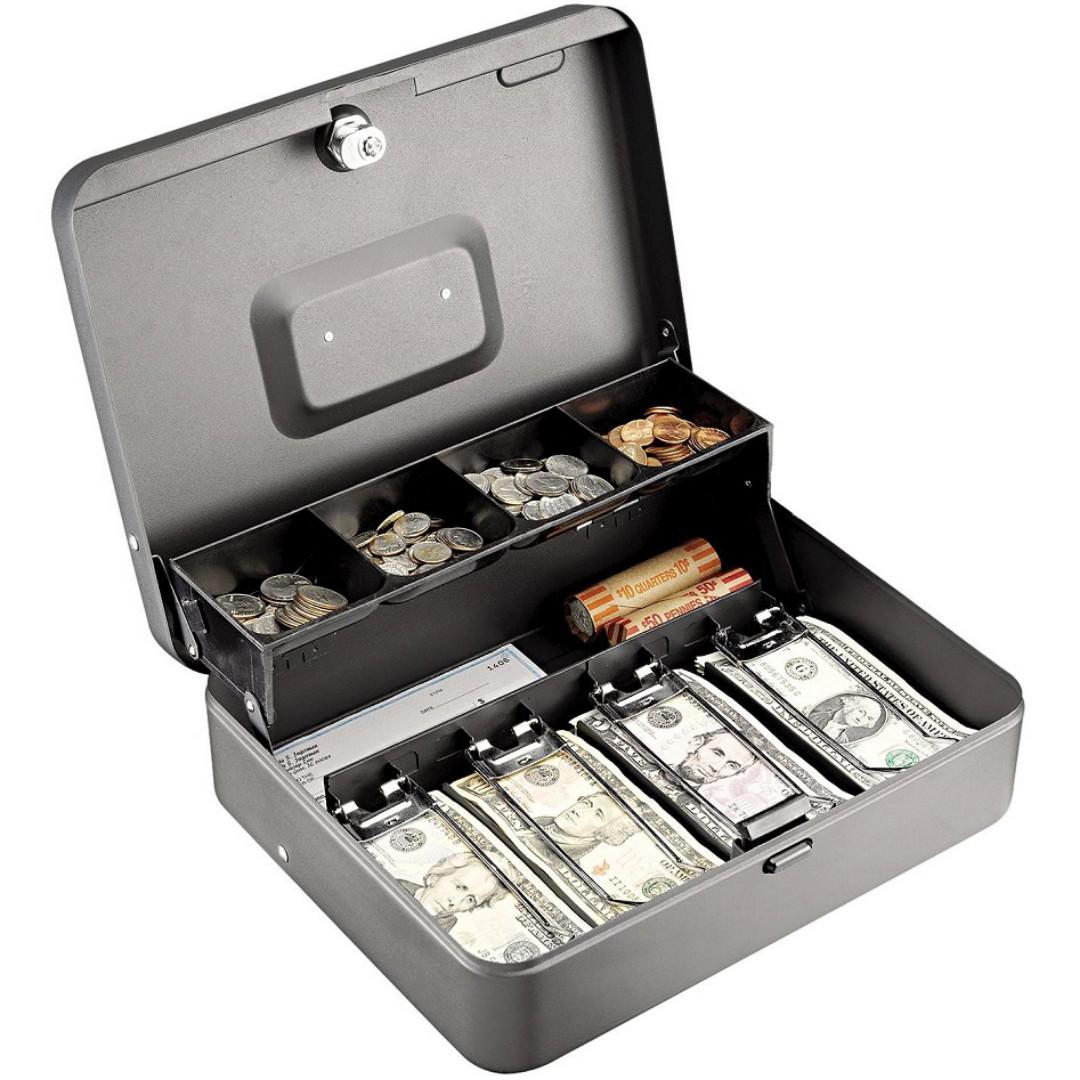Buy Metallic Dual Tier Portable Cash Box With Key Lock Unbranded