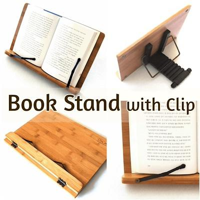 Natural Wood Book Stand with Black Clips