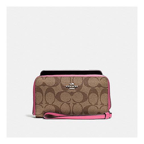 Sale Coach F57468 Phone Wallet In Signature Coated Canvas Coach Cheap