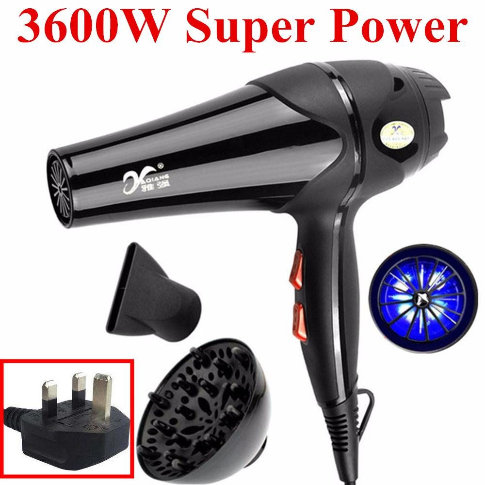 Buy 3600W Hair Dryer High Power Hot Cold Wind Pro 5 Free Nozzles Styling Tools Salons Hair Drier For Home Salon Cheap On China