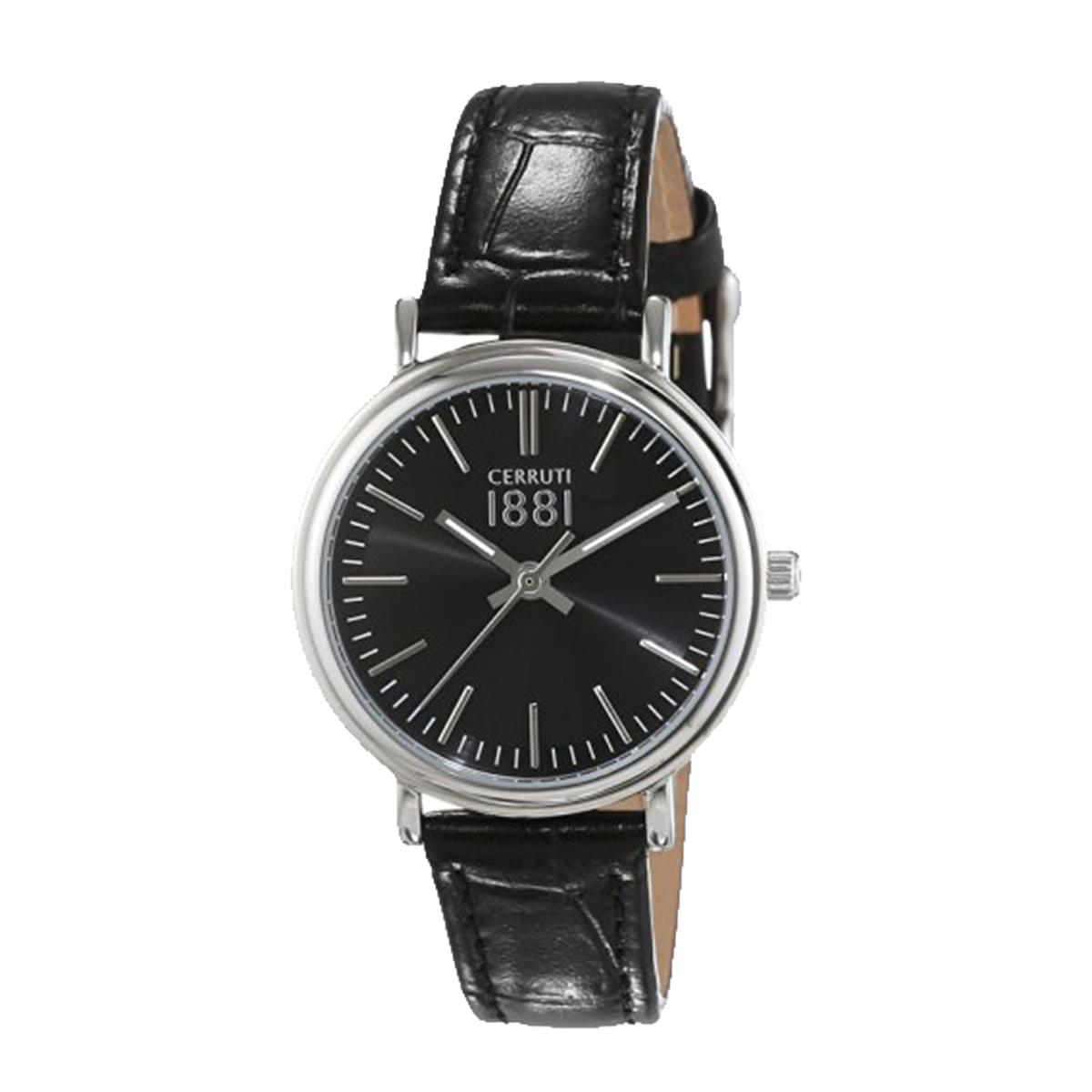 1baa2ff56c Cerruti Fabriano Black Stainless-Steel Case Leather Strap Ladies  CRM111SN02BK