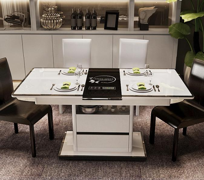 JIJI Memoir Storage Extendable Dining Table With/Without Induction Panel (Free Installation) - Black (Dining Table) / Free 12 Months Local Seller Warranty (SG)