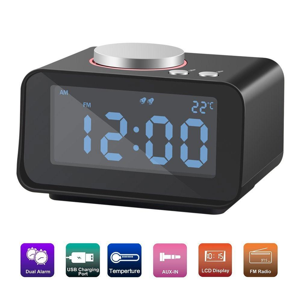Sale Niceeshop Alarm Clock With Snooze Function Dual Usb Charger Indoor Thermometer Fm Mode And Aux In With 5 Levels Of Lcd Dimming Uk Intl China