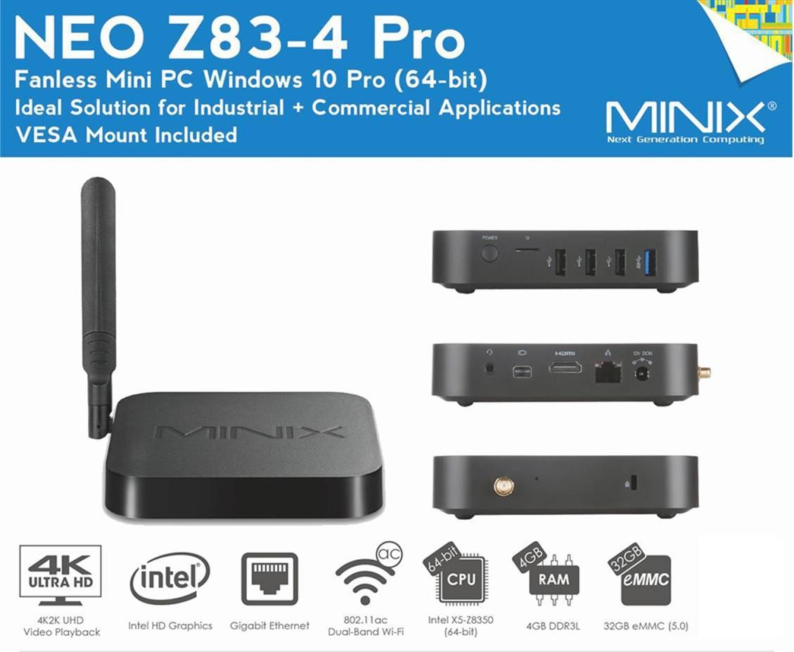 MINIX Neo Z83-4 Pro Windows Edition 4K TV Media Box By Amconics