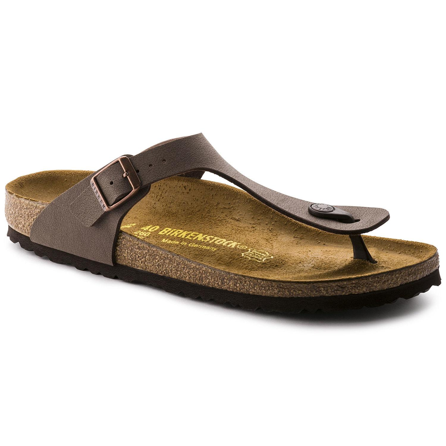 2a957d0264f Birkenstock Gizeh Birko-Flor Nubuck Soft Leather Sandals Mocca colour