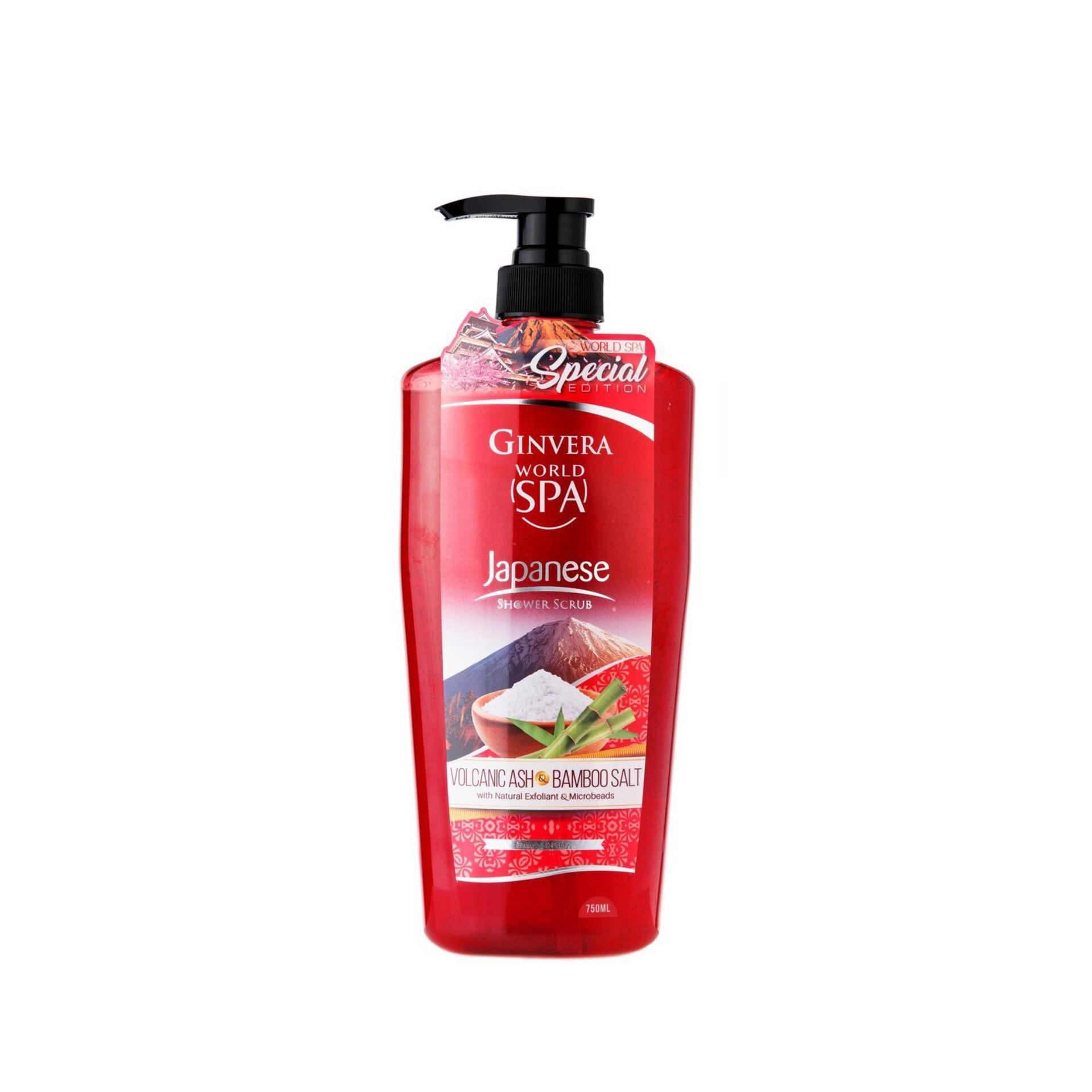 Ginvera World Spa Japanese Volcanic Ash & Bamboo Salt Shower Scrub 750ml