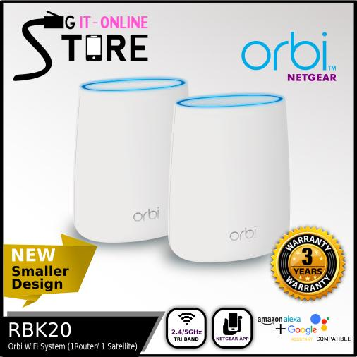 NETGEAR Orbi Whole Home AC2200 Tri-Band WiFi System (RBK20) - 1 Router, 1  Satellite