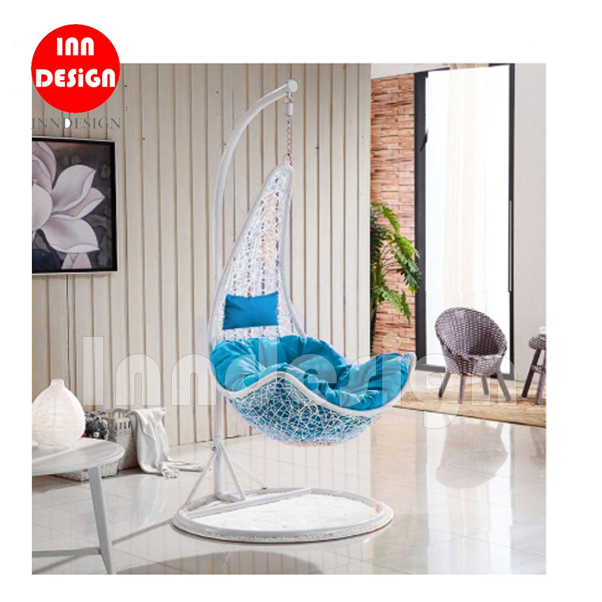 Miki Swing Chair / Lounge Chair / Relax Chair (White + Blue)