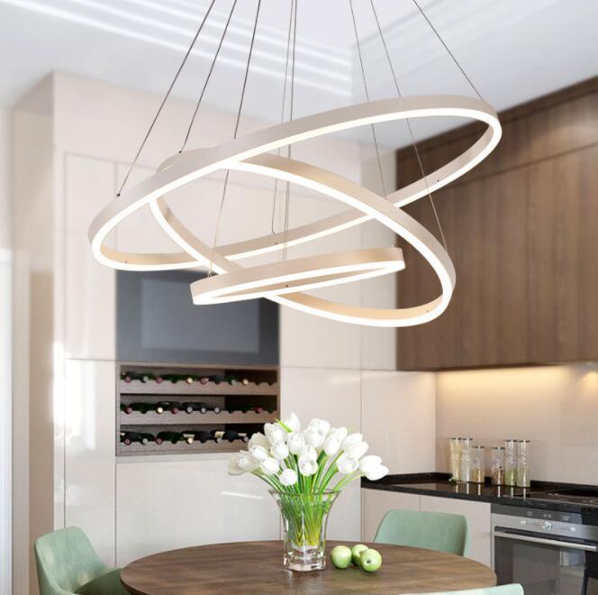 LED Circular Acrylic Pendant Lamp Modern Simple Chandelier Living Room Bedroom Restaurant Office Cafe Bar Hanging Lamp Ceiling Light 40cm White light A+