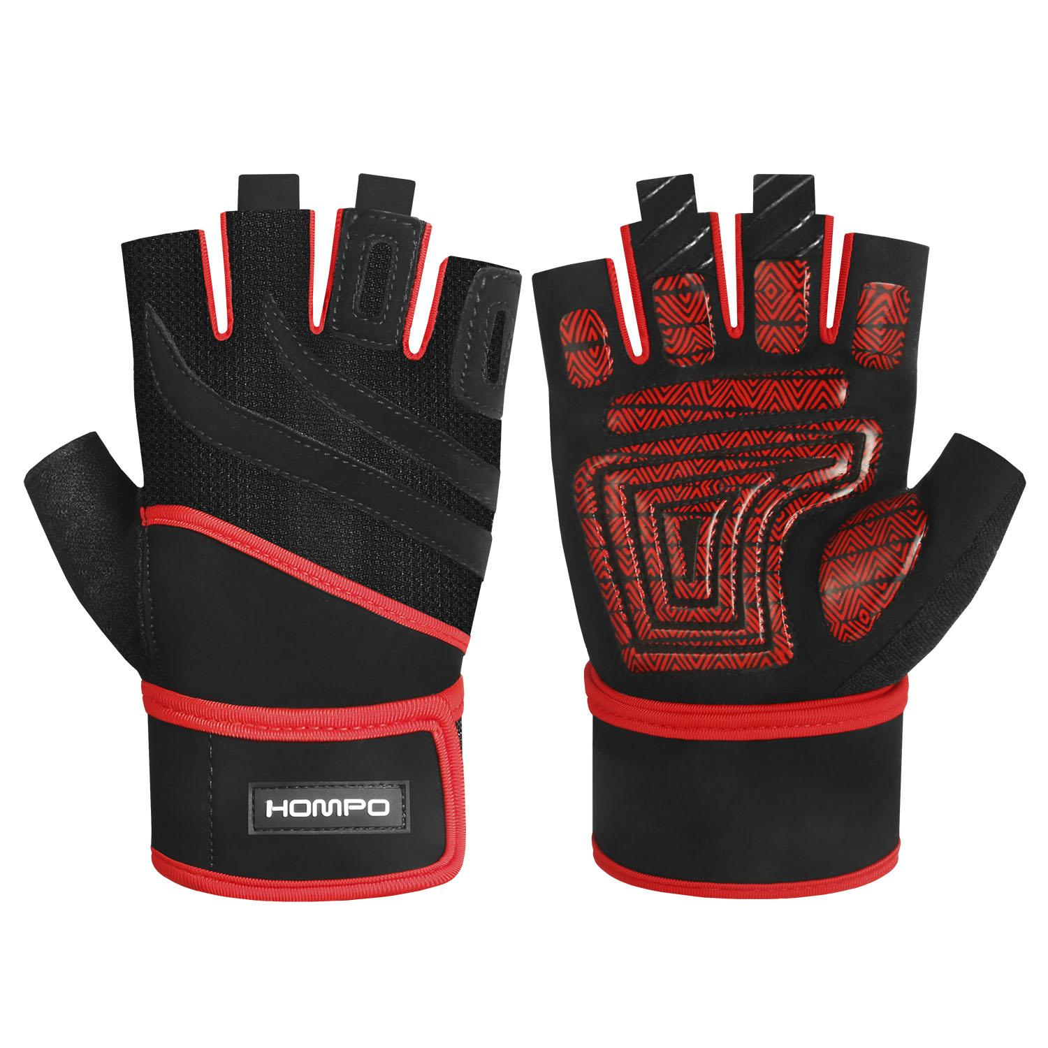 Hompo Weight Lifting Gloves Workout Gloves Fitness Gloves With Wrist Wraps Support, Gym Gloves For Exercise,powerlifting, Cross Training, Workout Weight Lifting Half Finger Gloves For Men & Women (1 Pair) By Wripples.