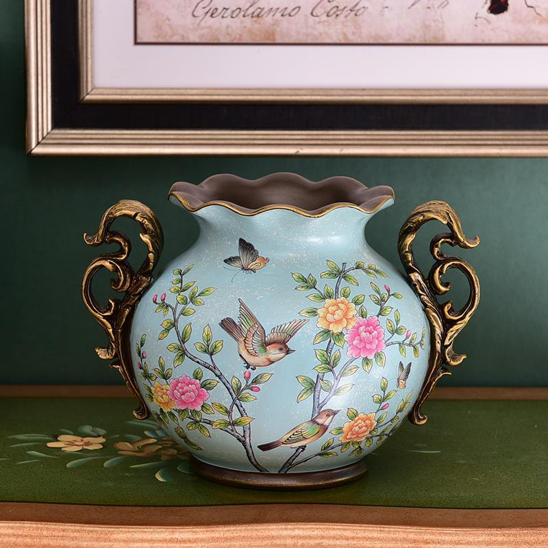 European Style Resin Dried Flower Vase 58 Decorations Living Room Teapoy Table Wine Cabinet Flower Container Creative American TV Cabinets Decoration