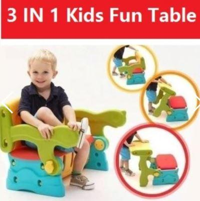 3-in-1 Children Kids Table and Bench Set
