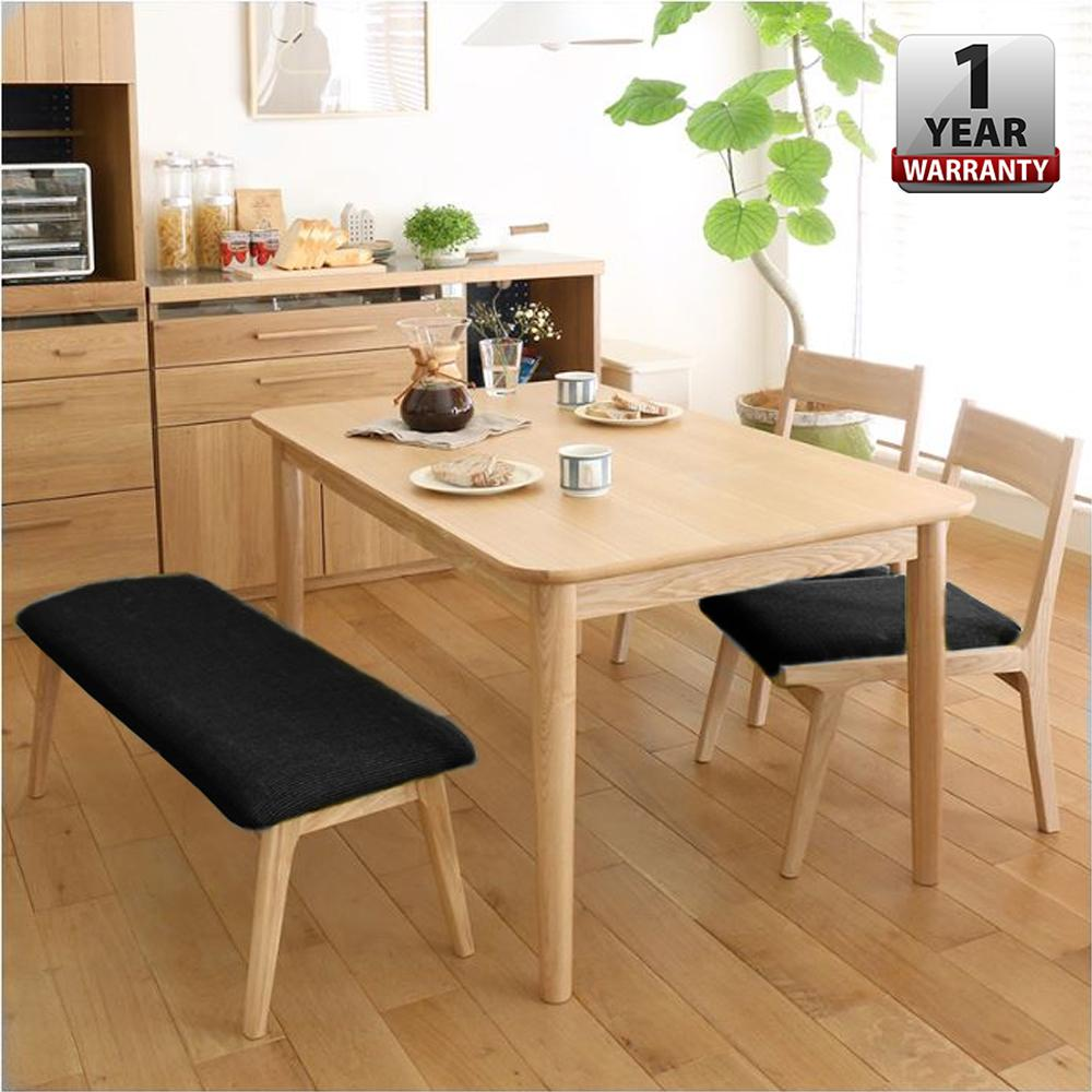 OISIN [120 x 70 x 75 cm] Alma Japanese Style Solid Rubber Wood Dining Table With Chairs and Bench Set