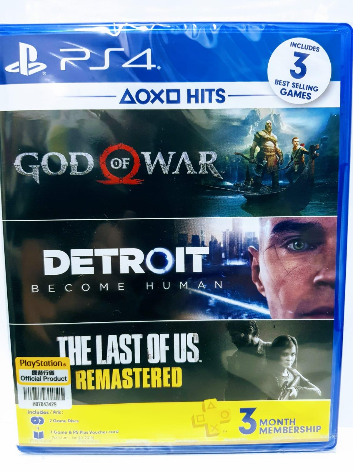 PS4 - God of War , Detroit: Become Human and The Last of Us Remastered -3 games bundle