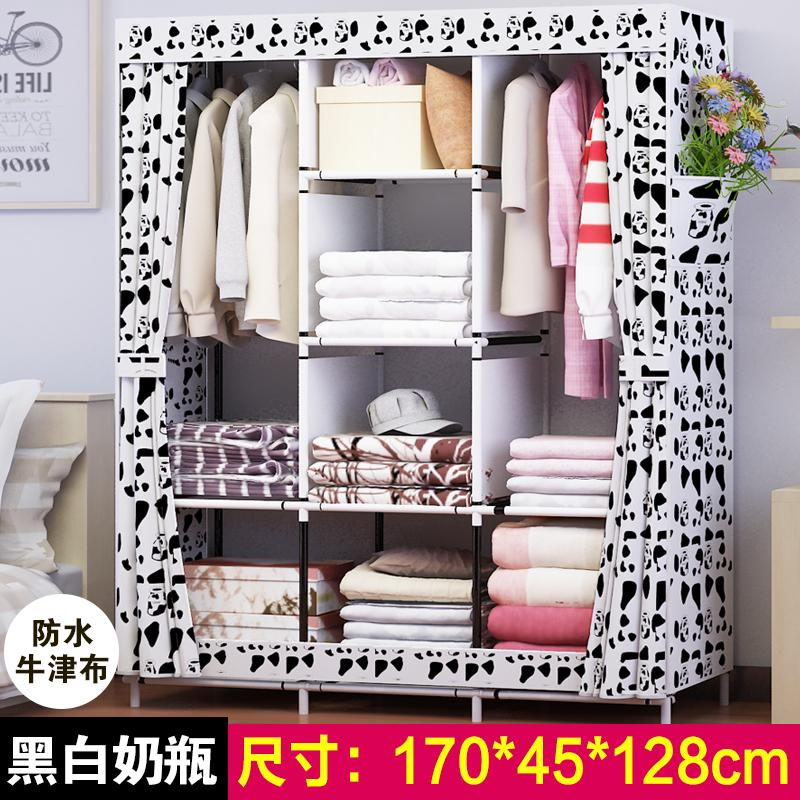 Simplicity Oxford Cloth Wardrobe Folding Cloth Wardrobe Combination Steel Frame Reinforced Closet Large Size Total-enclosed Dustproof Storage