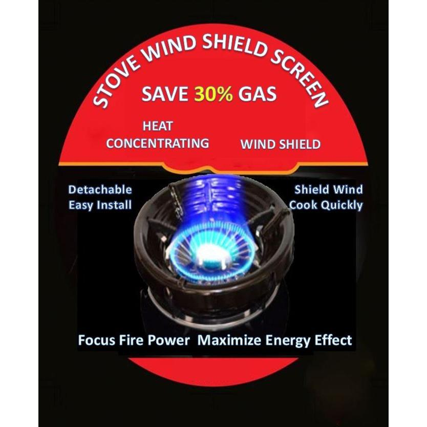 Indoor Outdoor Gas Stove Wind Shield Screen Ring Windproof Save Gas Cost Down 30% By Clicksebiz.