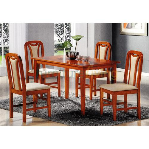 Furniture Living 1+4 Wooden Dining Set (Cherry)