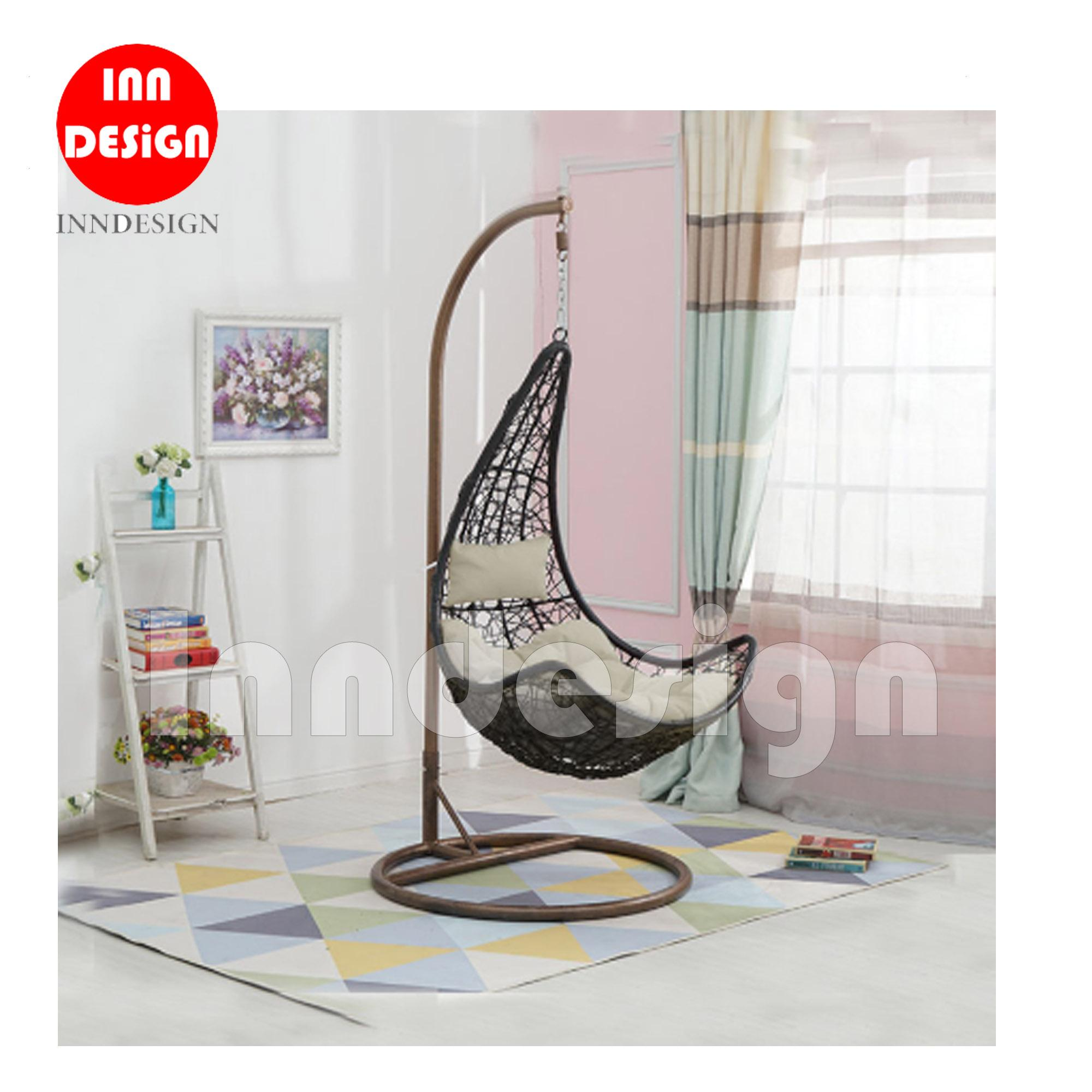 Miki Swing Chair / Lounge Chair / Relax Chair ( Black + Beige)