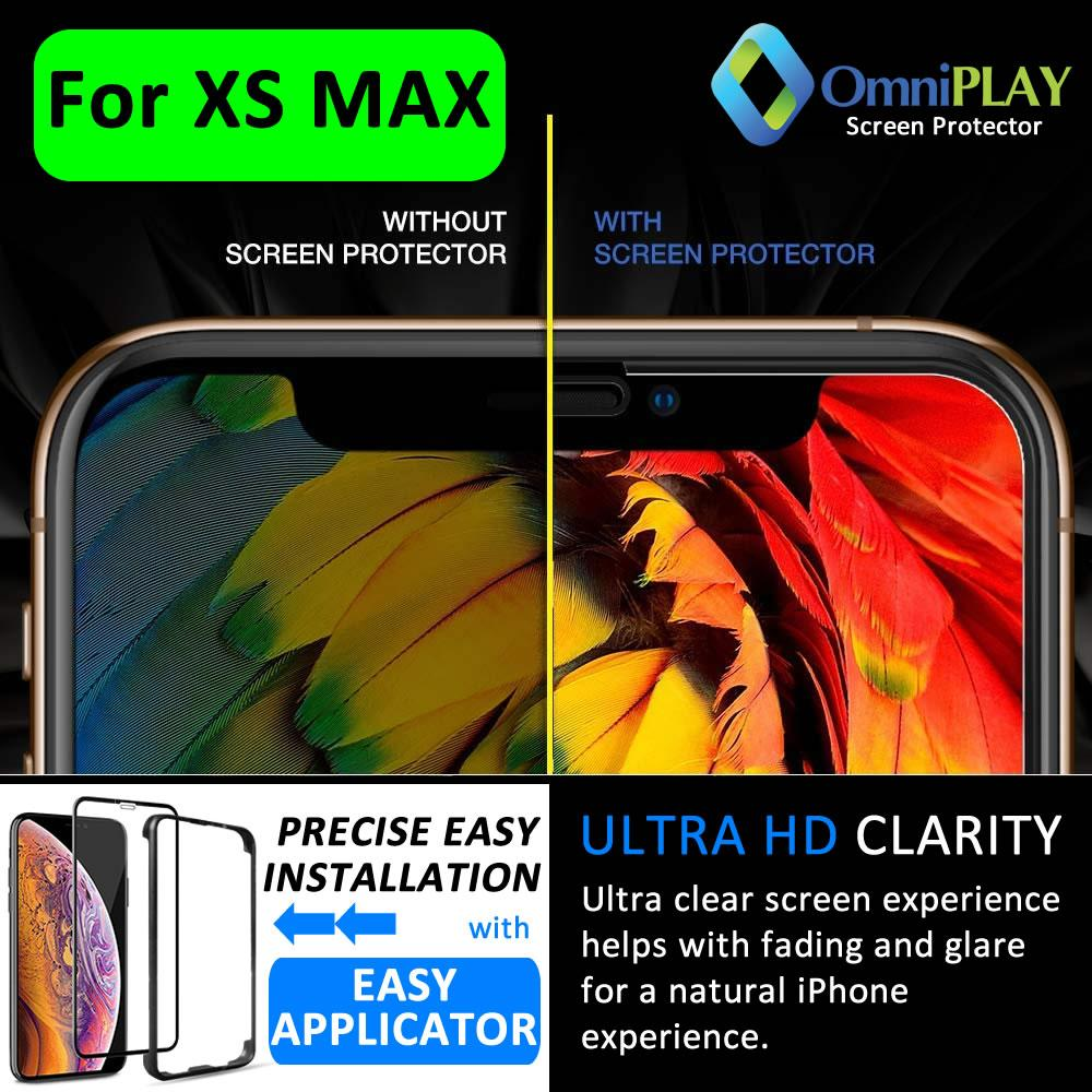 [fast Delivery] Omniplay Premium Quality True 9h 5d Explosion Proof Glass Screen Protector Designed For Iphone Xs Max (6.5) [5d Edge To Edge Coverage] - Precise Easy Installation With Omniplay Easy Applicator.