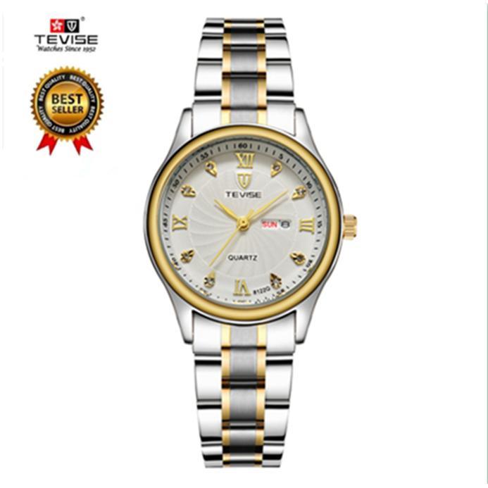 Price Compare 100 Genuine Tevise Women Watches Luxury Double Calendar Bracelet Watch Ladies Waterproof Fashion Quartz Steel Wrist Watches For Women Saat