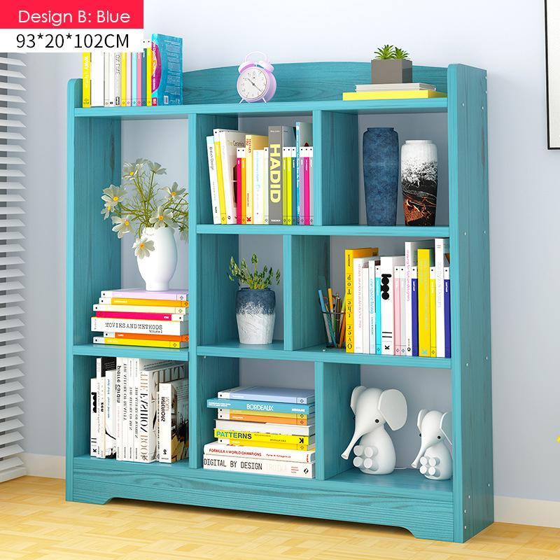 Multi-Purpose Wooden Book Shelf - Design B(Blue)