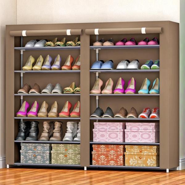 12 Lattices Shoes Cabinet Dust-Proof OXFORD Cloth Shoes Rack