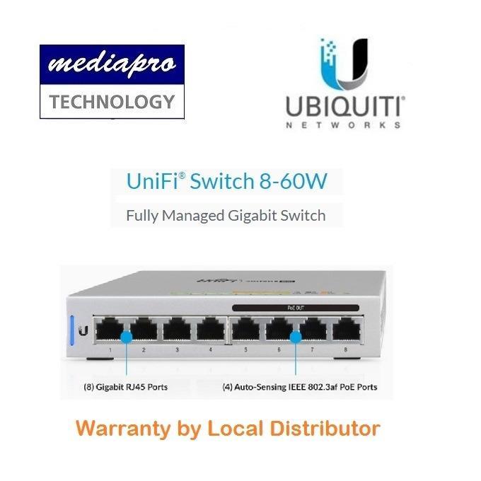 Ubiquiti US-8-60W UniFi Switch-8 60W Fully Managed Gigabit PoE Switch -  Local Distributor Warranty
