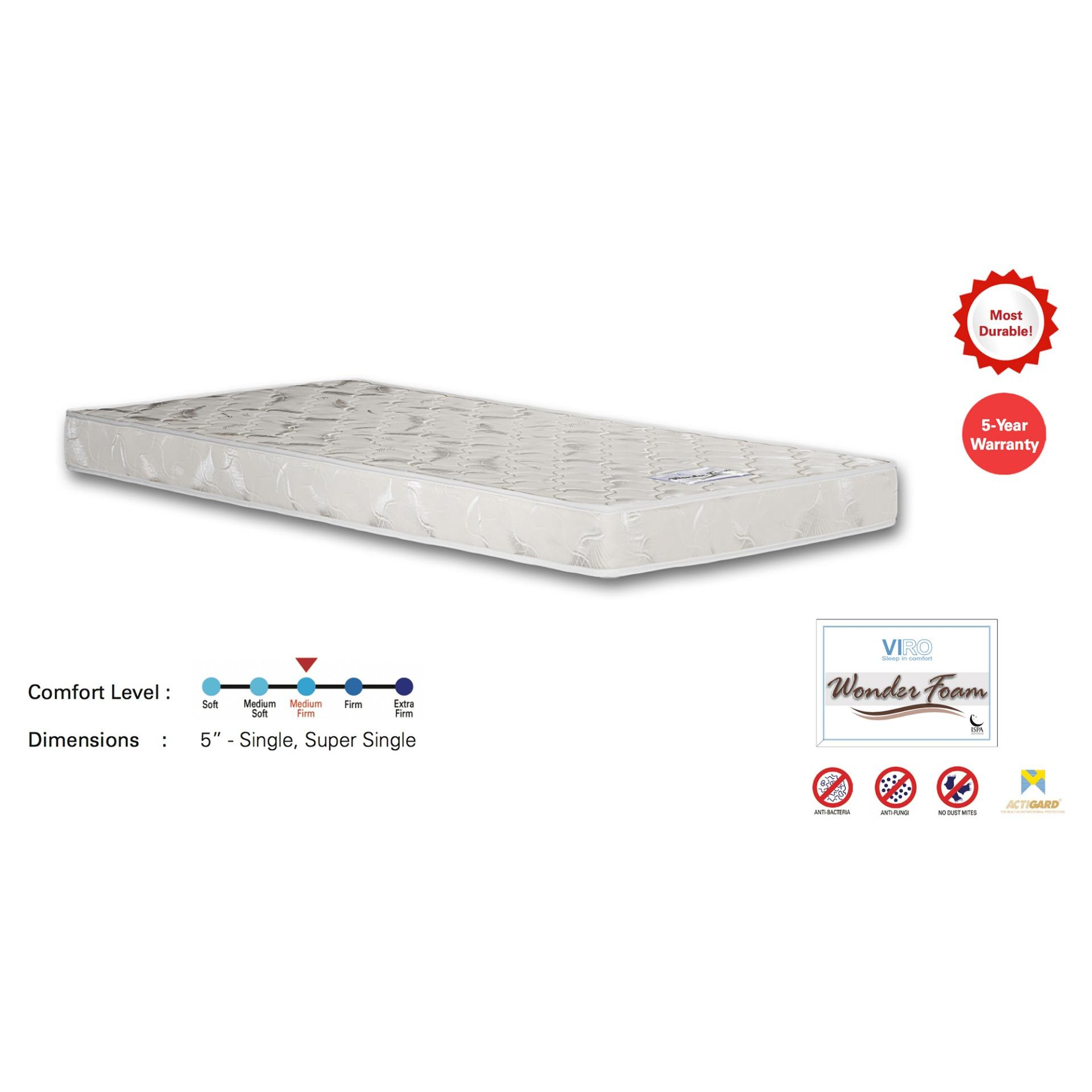 Viro Wonder Foam Mattress 5 Thickness (FREE DELIVERY)