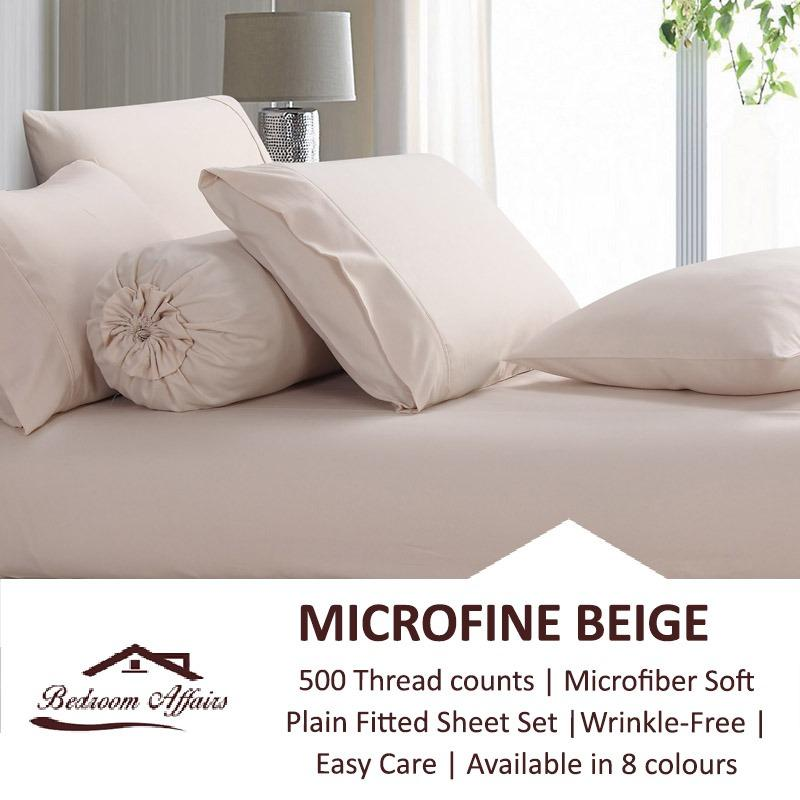 Microfine Beige Fitted Sheet Set Deal