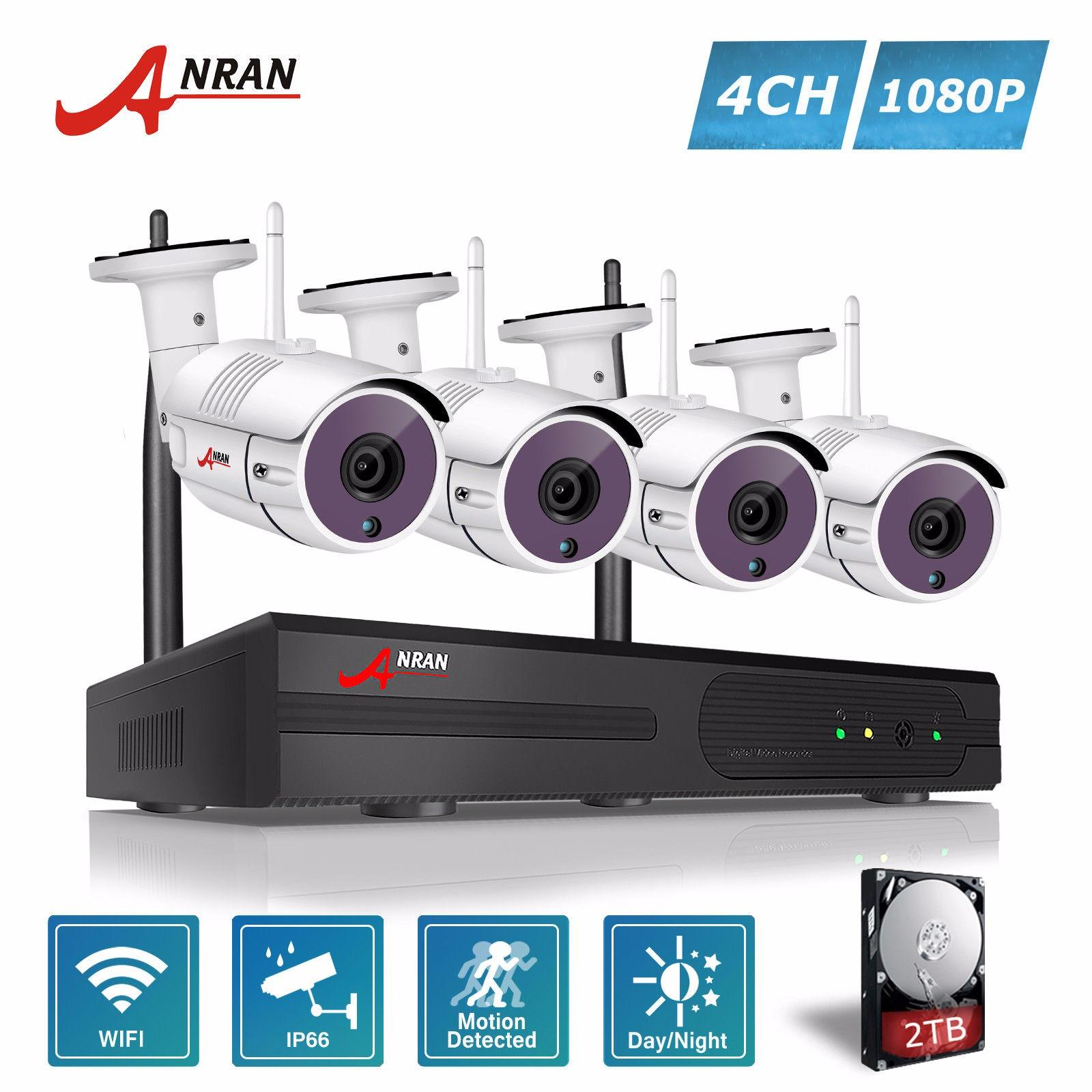 Sale Anran 4Ch Wireless Nvr Cctv Kit P2P 1080P Hd Outdoor Wifi Mini Ip Camera 36Ir Security Surveillance System Anran Branded
