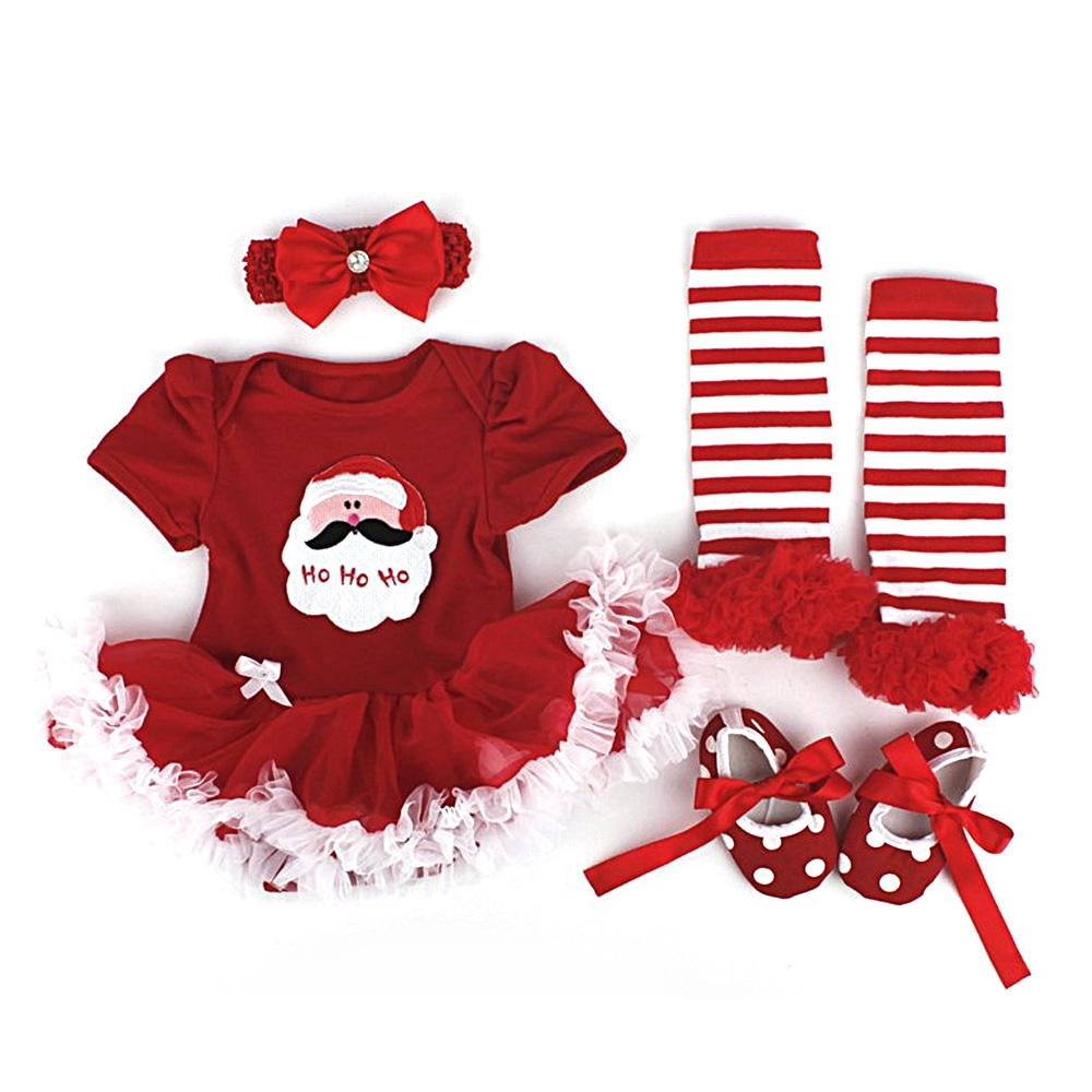 0ddbc655a023c Cute Children's Christmas Santa Claus Lace-style Tutu Romper Dress Outfits  for Baby Girls Set