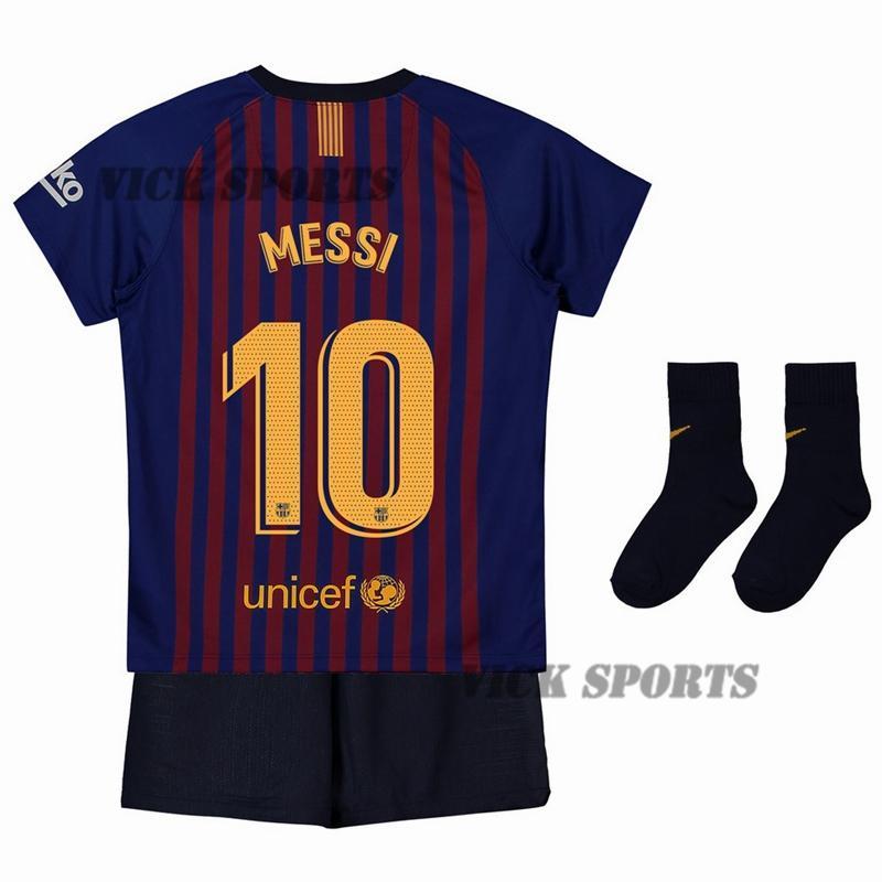 623e0c8d Vick Sports (FREE SOCKS)2019 New Season Messi No.10 Barcelona Boys football