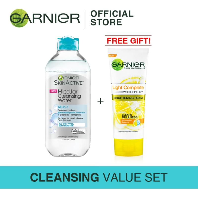 Buy [Cleansing Value Set] Garnier Micellar Cleansing Water All-in-1 Biphase 400ml (For Waterproof Makeup) +  FREE Light Foam 100ml Singapore