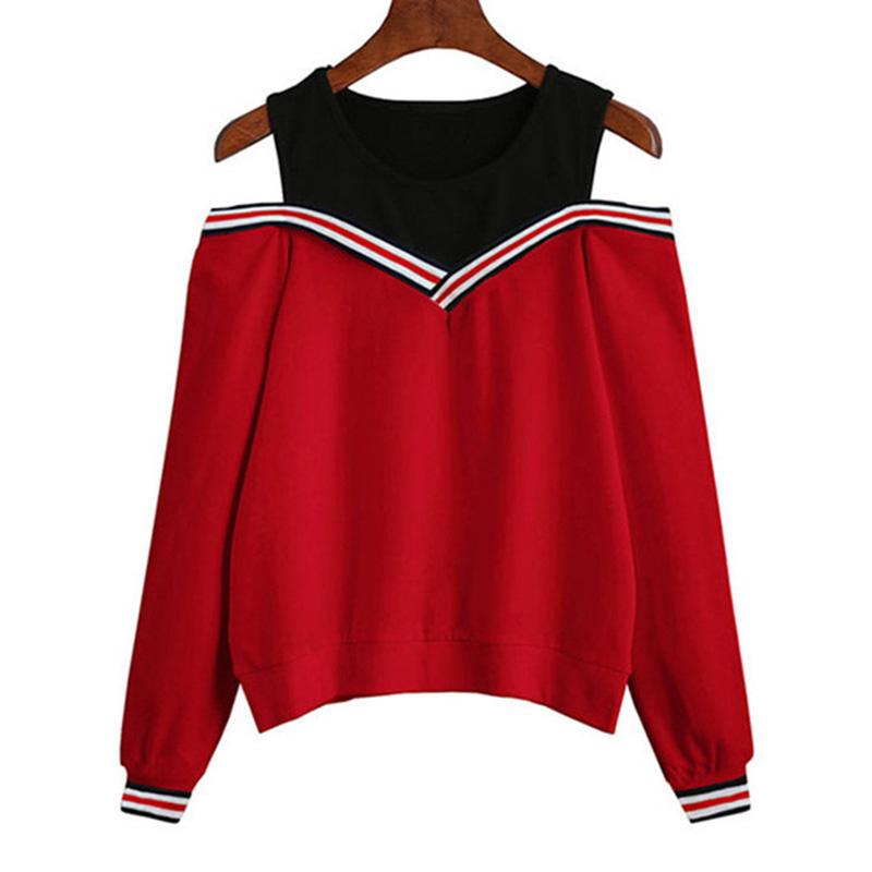 758cb957 RD Women Hoodie Sweatshirt Matching Color Shirts Off-shoulder Pullover Long  Sleeve Tops