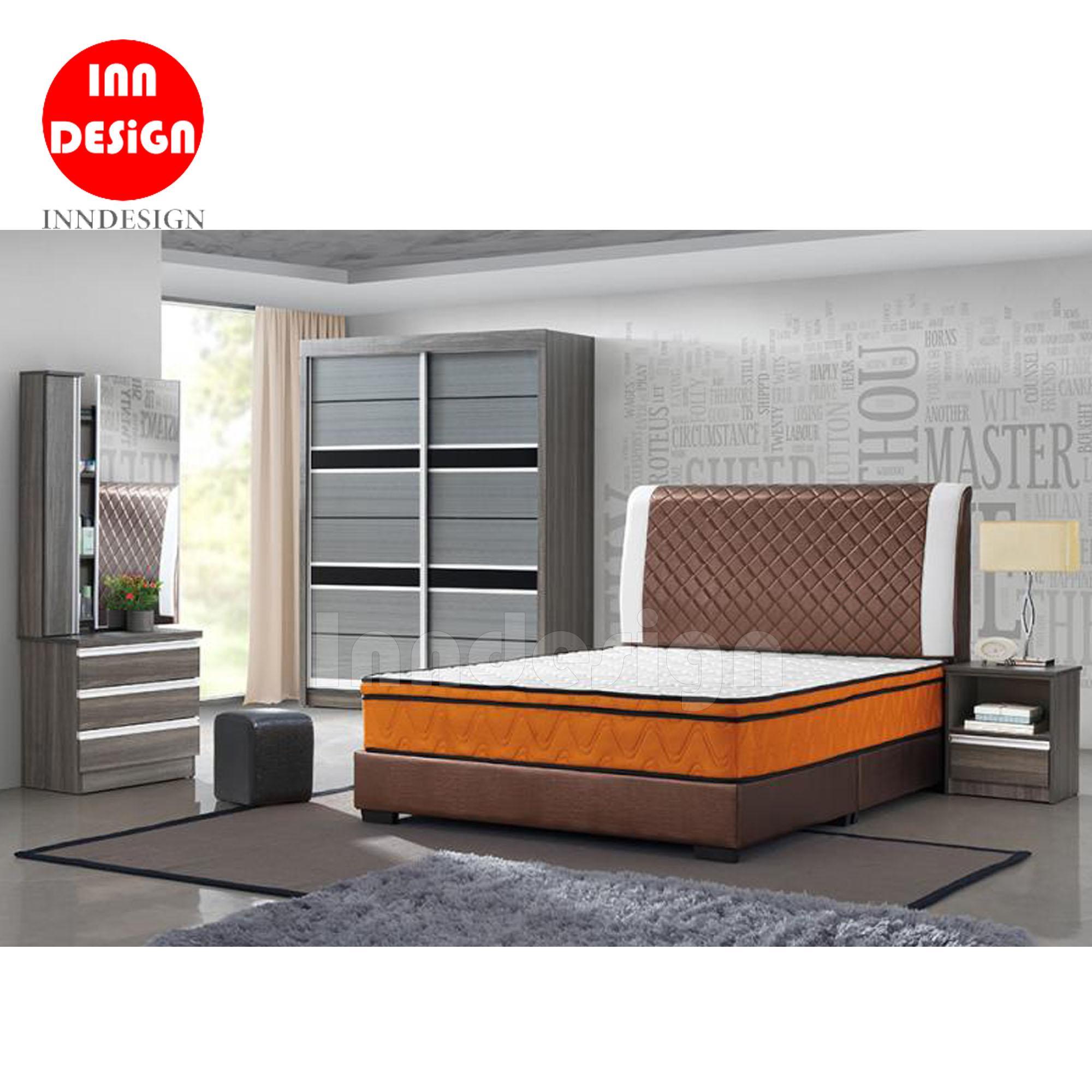 Jayden Full Bedroom Set (5ft Wardrobe / 10inches Queen Mattress / BedFrame / Dressing Table / Bedside Table)