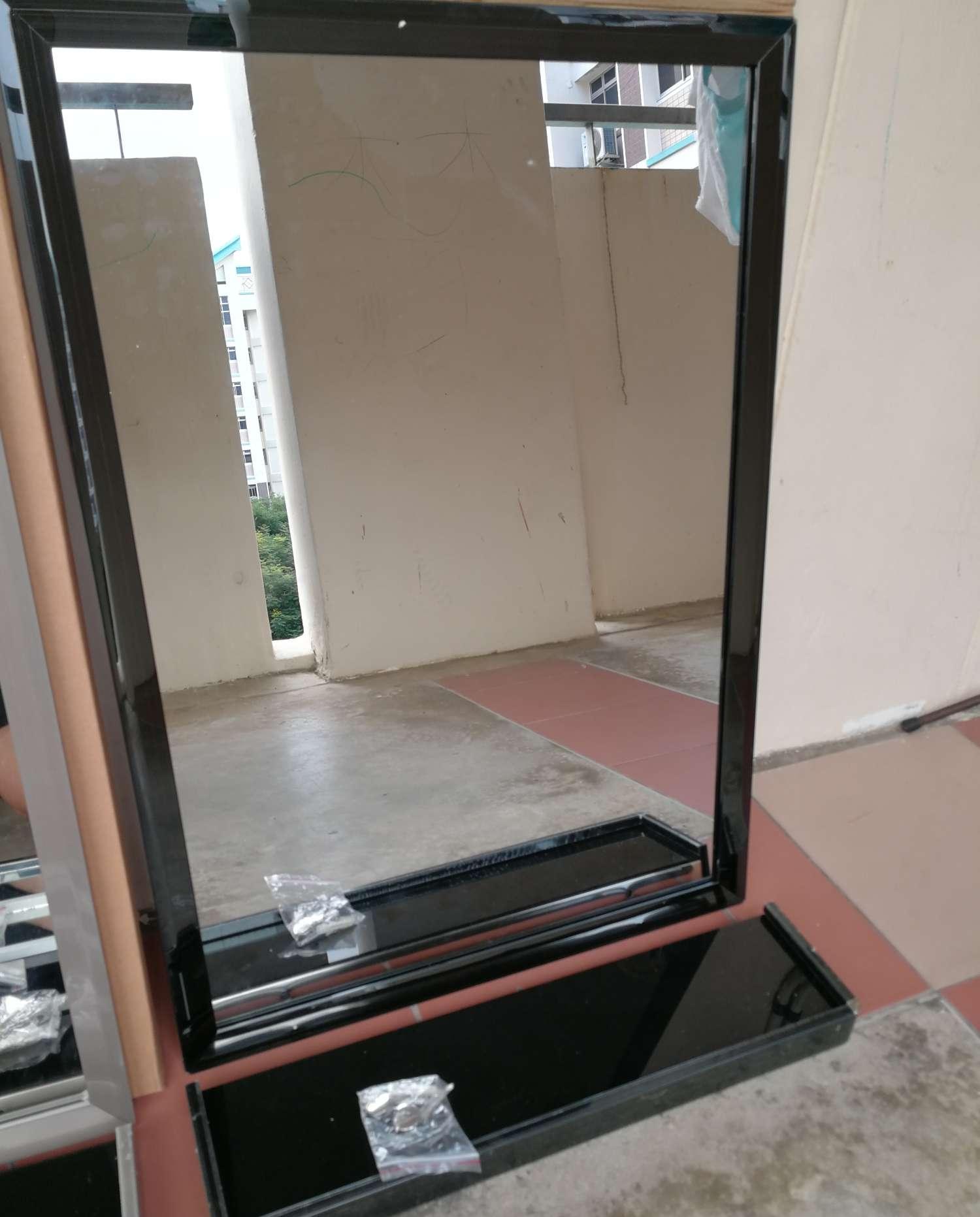mirror+ shelf, stainless steel frame