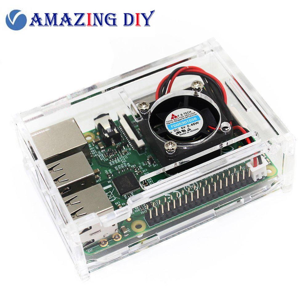Clear Acrylic Case with Cooling Fan for Raspberry Pi 3 & 2 Model B and Raspberry Pi Model B+