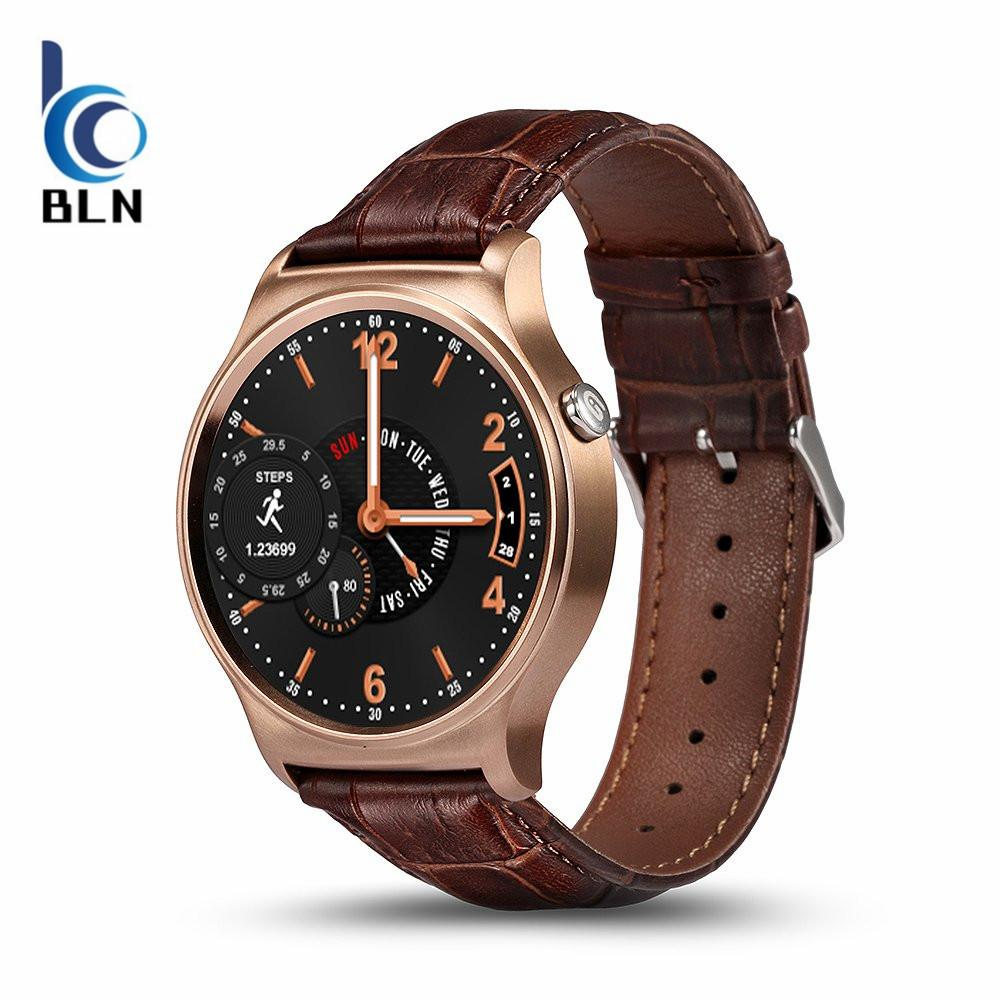 Sale 【Bln Tech】Gw01 Smart Watch Bluetooth 4 Smartwatch Heart Rate Monitor For Android 4 3 Ios 7 Ips Round Screen Life Water Resistant Gold Leather On Hong Kong Sar China