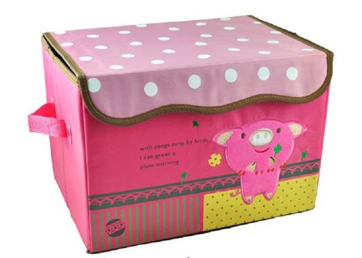 Embroidered Foldable Storage Box for Toys (Little Pig)