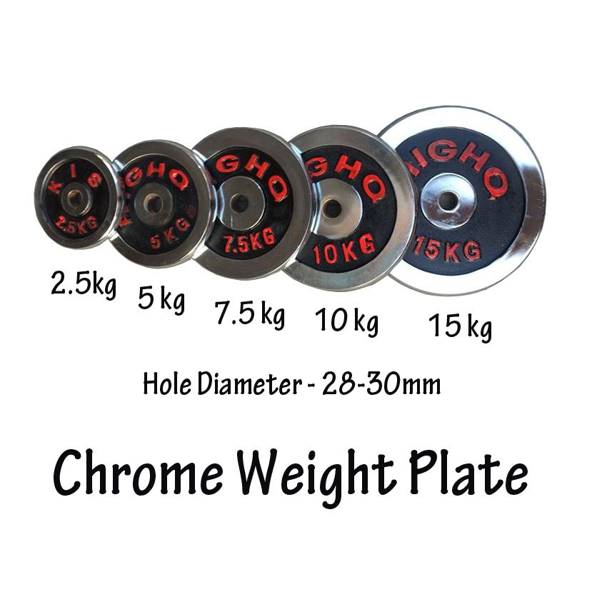 5kg Weight Plate For Barbell Bar (sold In 2 Pcs) Chrome Cast Iron By My Cool Shop.