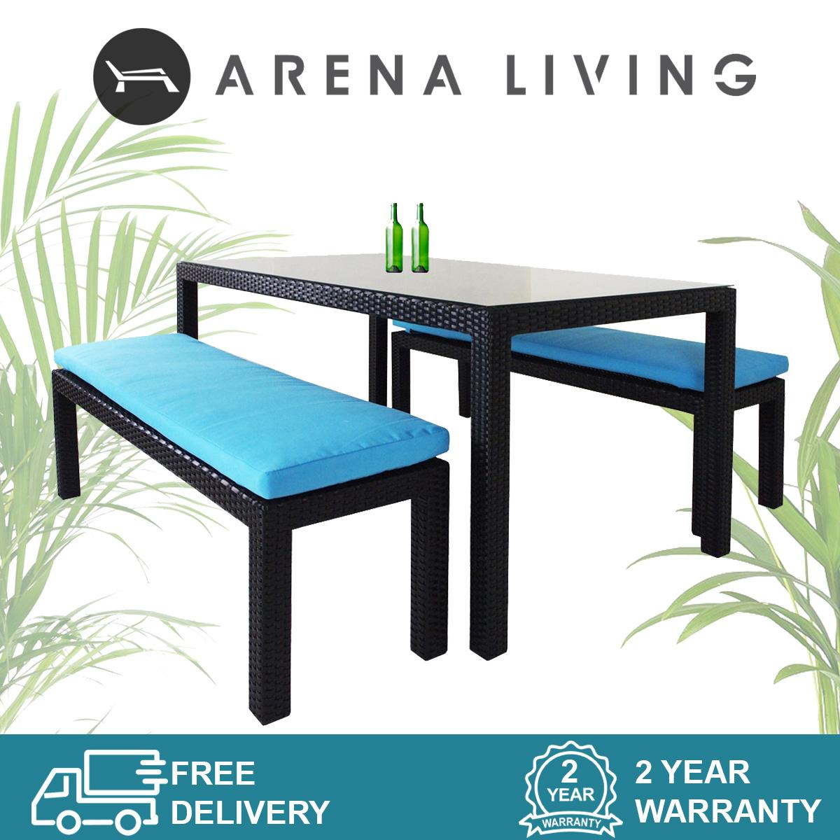 Bondi 2 Bench Dining Set Blue Cushion, Outdoor Furniture by Arena Living