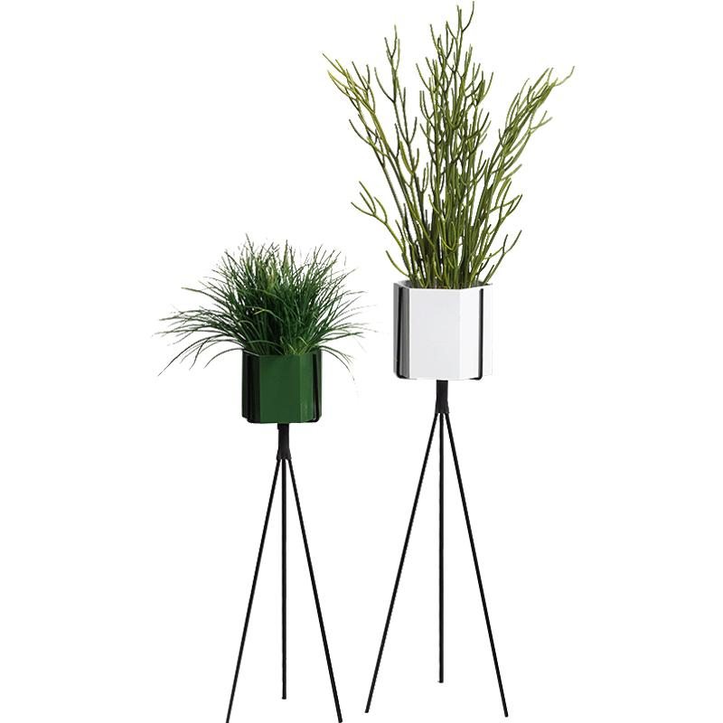 CRUX Nordic Minimalist Metal Hexagon Flowerpot TRIANGLE Floor Flower Stand Iron Vase 58 Living Room Decoration
