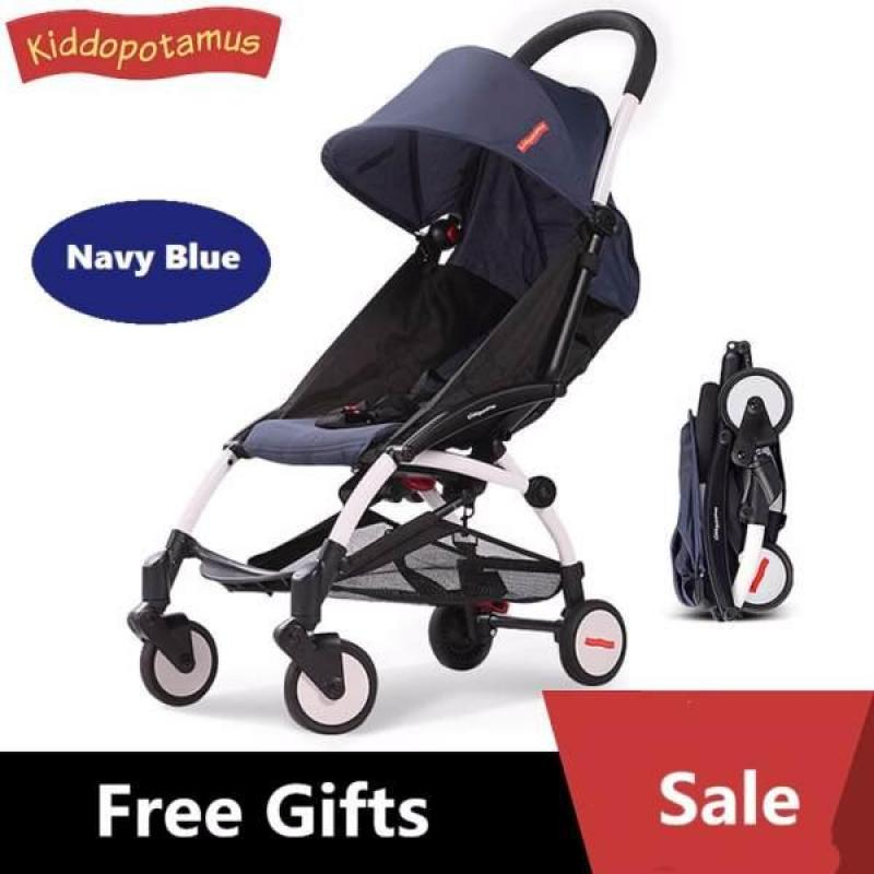 ★Fast Delivery=2 days★Kiddopotamus® Cabin size Ultra Lightweight one hand fold stroller - NAVY BLUE/BLACK★LOCAL SELLER★ Singapore