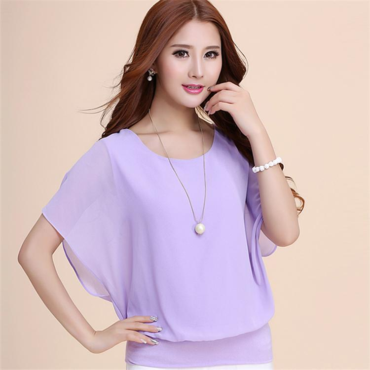 63b2010b75bff6 Elegant Korean Style Loose Short-sleeved Chiffon Shirt Summer Wear for Women  New Style Large